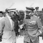О.И.Городовиков и Гаряев Н.О., на праздновании 500-летия эпоса Джангар. 1940 г.